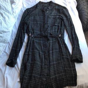 Black printed tie dress